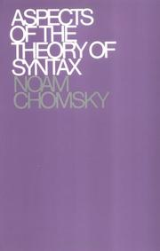 Cover of: Aspects of the theory of syntax