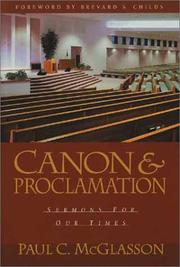 Cover of: Canon and Proclamation | Paul C. McGlasson