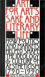 Cover of: Art for Art's Sake and Literary Life