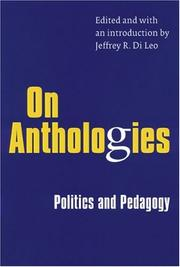 Cover of: On anthologies |