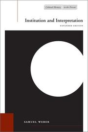 Cover of: Institution and interpretation