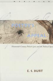 Cover of: Poetry's Appeal: Nineteenth-Century French Lyric and the Political Space (Meridian: Crossing Aesthetics)