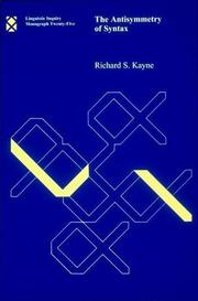 Cover of: The antisymmetry of syntax