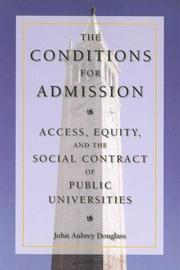 Cover of: The Conditions for Admission | John Douglass