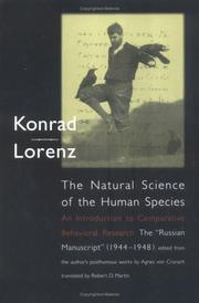 Cover of: The Natural Science of the Human Species: An Introduction to Comparative Behavioral Research