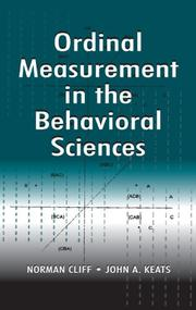 Cover of: Ordinal measurement in the behavioral sciences