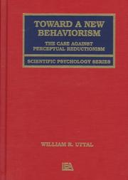 Cover of: Toward a new behaviorism | William R. Uttal