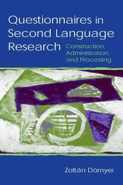 Cover of: Questionnaires in Second Language Research