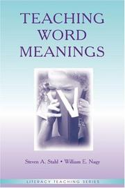 Cover of: Teaching Word Meanings (Literacy Teaching) (Literacy Teaching) | Steven A. Stahl