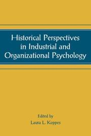 Cover of: Historical Perspectives in Industrial and Organizational Psychology (Applied Psychology Series) (Applied Psychology Series)