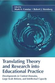 Cover of: Translating Theory and Research into Educational Practice |