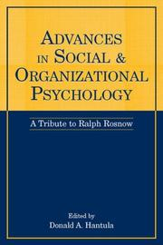 Cover of: Advances in Social and Organizational Psychology