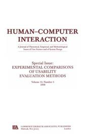 Cover of: Experimental Comparisons of Usability Evaluation Methods |