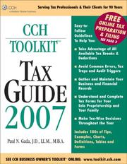 Cover of: CCH Toolkit Tax Guide 2007 (CCH Business Owner