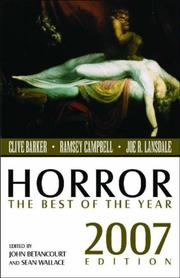 Cover of: Horror: The Best Of The Year, 2007 Edition (Horror: The Best of) |