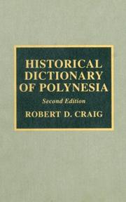 Cover of: Historical dictionary of Polynesia | Craig, Robert D.