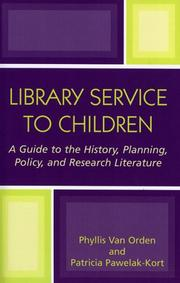 Cover of: Library service to children | Phyllis Van Orden