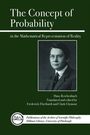 Cover of: The concept of probability in the mathematical representation of reality