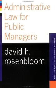 Cover of: Administrative law for public managers
