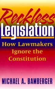 Cover of: Reckless legislation
