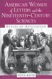 Cover of: American Women of Letters and the Nineteenth-Century Sciences