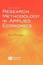Cover of: Research Methodology in Applied Economics by Don E. Ethridge