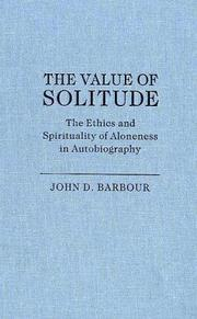 Cover of: The Value Of Solitude | John D. Barbour