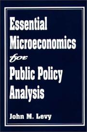 Cover of: Essential microeconomics for public policy analysis
