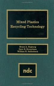Cover of: Mixed Plastics Recycling Technology | Bruce A. Hegberg et al