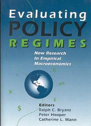Cover of: Evaluating policy regimes