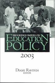 Cover of: Brookings Papers on Education Policy 2003 (Brookings Papers on Education Policy) | Diane Ravitch