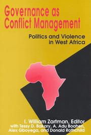 Cover of: Governance As Conflict Management: Politics and Violence in West Africa