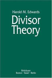 Cover of: Divisor theory