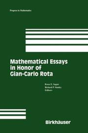 Cover of: Mathematical essays in honor of Gian-Carlo Rota