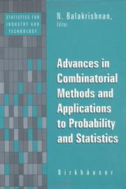 Cover of: Advances in Combinatorial Methods in Probability & Statistics (Statistics for Industry and Technology)