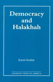 Cover of: Democracy and the Halakhah