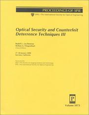 Cover of: Optical security and counterfeit deterrence techniques III |