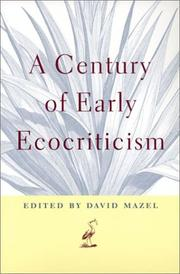 Cover of: A century of early ecocriticism |