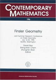 Cover of: Finsler geometry