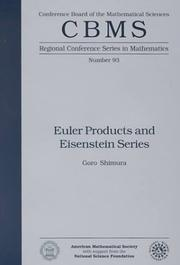 Cover of: Euler products and Eisenstein series