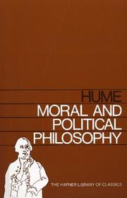 Cover of: MORAL AND POLITICAL PHILOSOPHY (Hafner Library of Classics) | David Hume