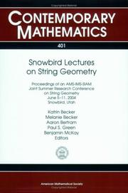Cover of: Snowbird Lectures on String Geometry | AMS-IMS-SIAM JOINT SUMMER RESEARCH CONFE
