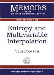 Cover of: Entropy and Multivariable Interpolation (Memoirs of the American Mathematical Society) (Memoirs of the American Mathematical Society) | Gelu Popescu