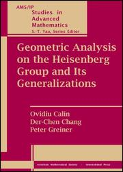 Cover of: Geometric analysis on the Heisenberg group and its generalizations |