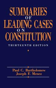 Cover of: Summaries of leading cases on the Constitution | Paul Charles Bartholomew