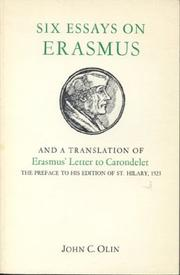 Cover of: Six essays on Erasmus and a translation of Erasmus' letter to Carondelet, 1523