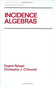 Cover of: Incidence algebras