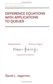 Cover of: Difference Equations with Applications to Queues (Pure and Applied Mathematics) | David L. Jagerman