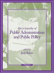 Cover of: Encyclopedia of Public Administration and Public Policy - Volume 1 of 2 (Print) | Jack Rabin