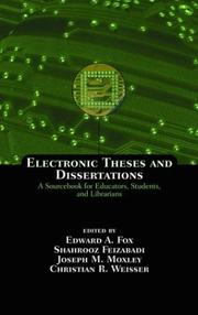 Cover of: Electronic Theses and Dissertations: A Sourcebook for Educators |